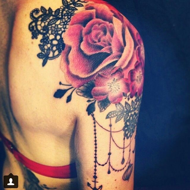 Amazing Red Rose Tattoos On Shoulder