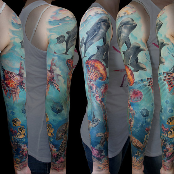 Amazing Sea Turtle Sleeve Tattoo