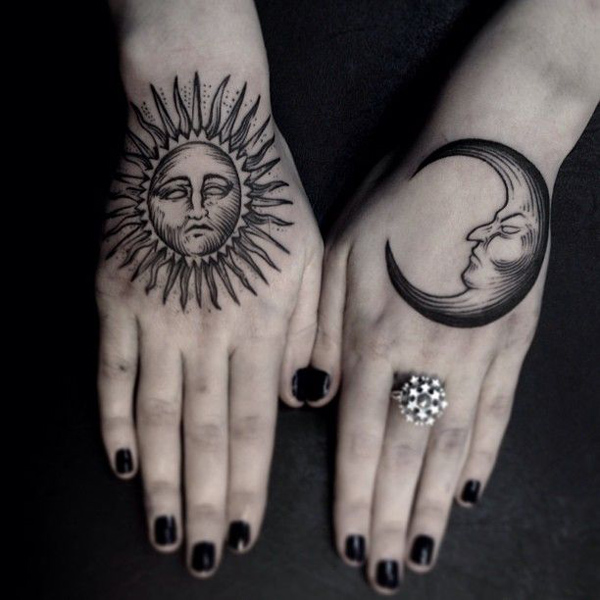 Amazing Sun And Moon Tattoos On Hands For Girls