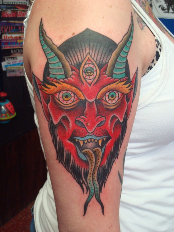 Amazing Traditiona Devil Face Tattoo For Shoulder