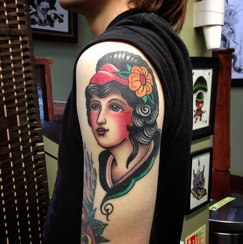 Amazing Traditional Woman Tattoo For Biceps