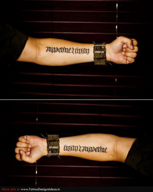 Ambigram Tattoo Designs For Arms