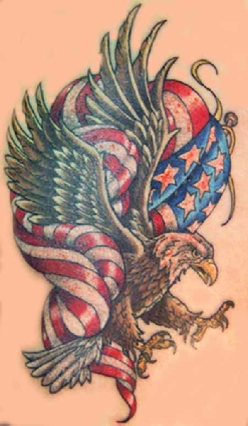 American Flag In Butterfly Tattoo Design
