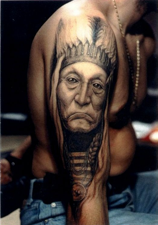 American Indian Chief Tattoo On Shoulder