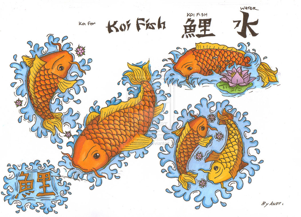 An artistic koi fish tattoo that depicts an orange and a for Koi fish near me