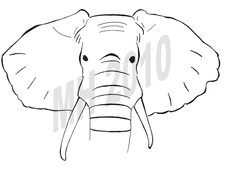Simple elephant line drawing