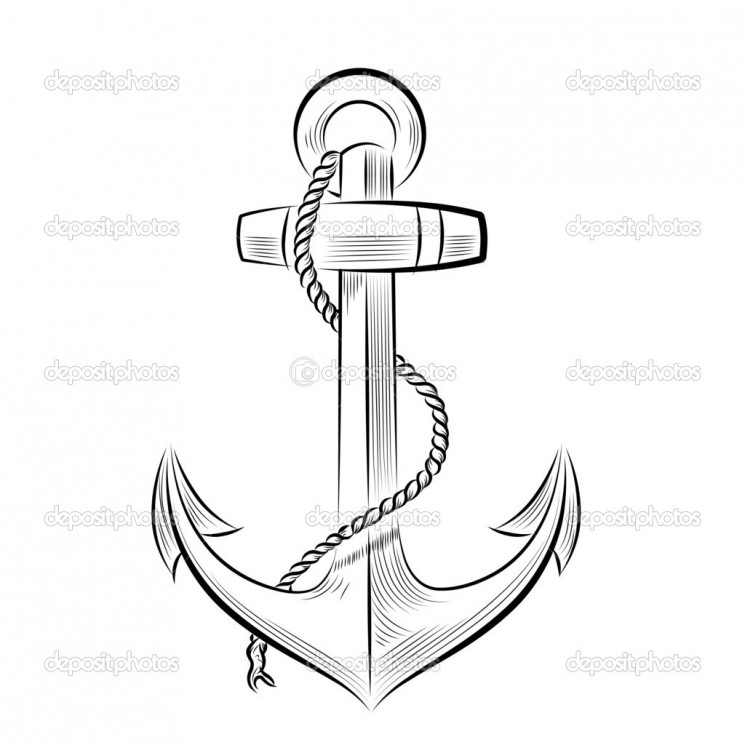 Anchor Tattoo With Banner And Wheel