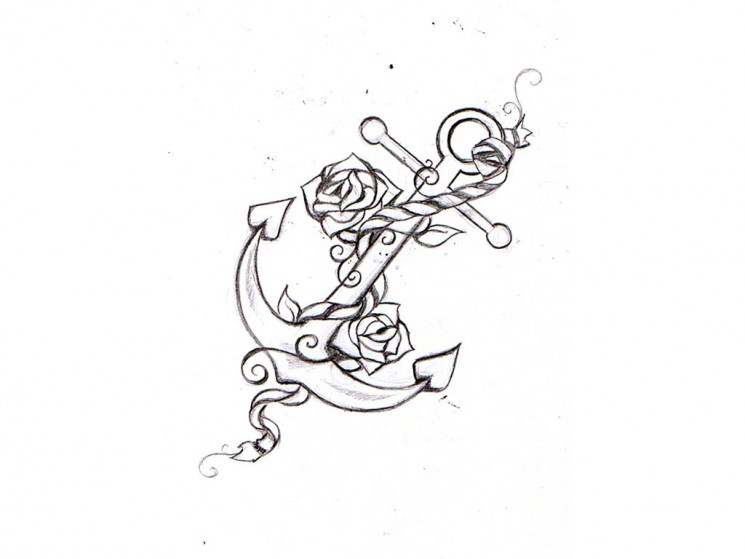 Anchor With Roses Tattoo Sketch