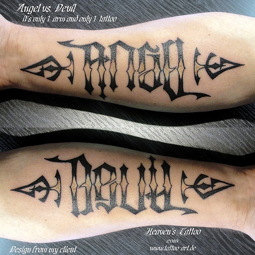 Angel And Devil Ambigram Tattoo On Arms