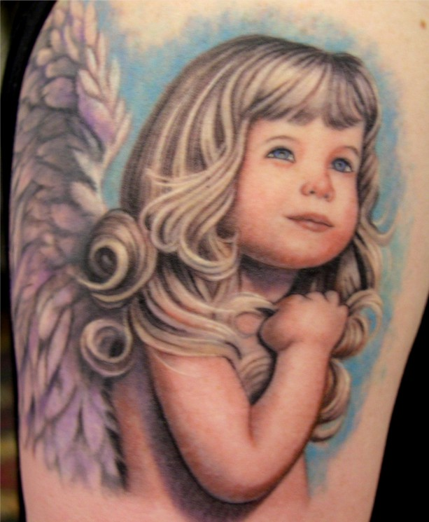 Angel And Dragon Tattoos On Upper Arm