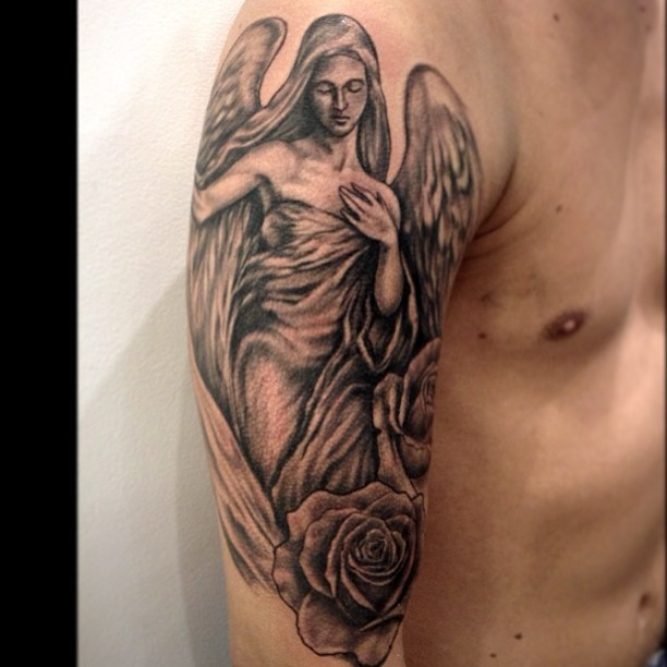 Angel And Roses Half Sleeve Tattoos For Guys