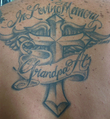 Angel Banner Tattoo On Back