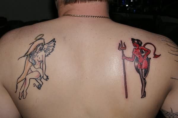 Angel Devil Fight Tattoo On Back