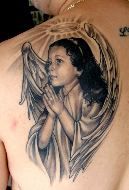 Angel Girl Sitting Tattoo With Birds On Back