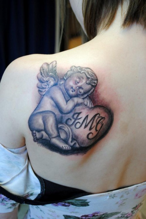 Angel Girl Thinking Tattoo On Arm