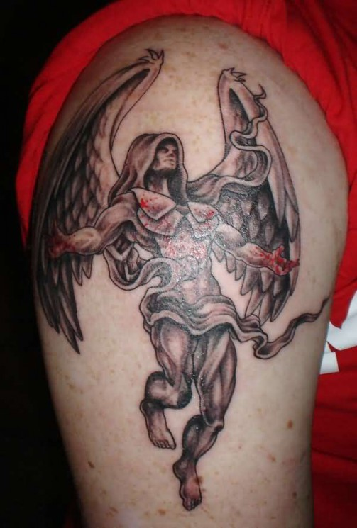 Angel Of Death Tattoo On Chest