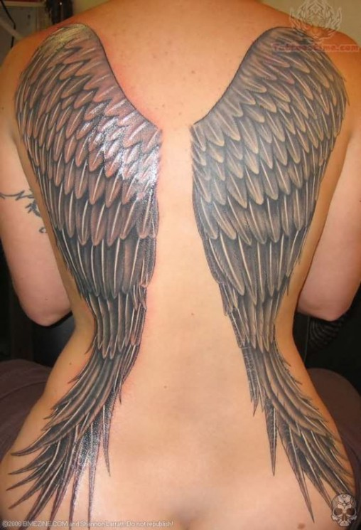 Angel Wings Big Tattoo On Back