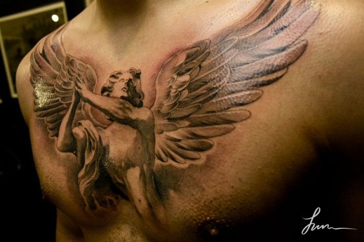 Angel Wings Cross Tattoo On Chest