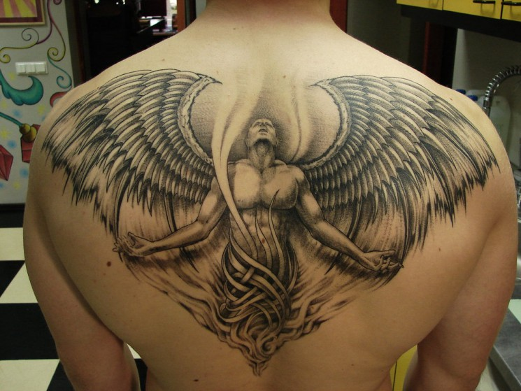 Angel Wings Tattoo On Back For Men
