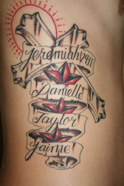 Angel With Name Banner Tattoo Design