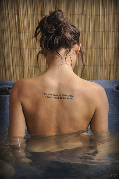 Angelina Jolie Know Your Right Words Tattoo On Upper Back