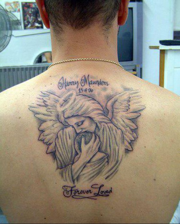 Angey Baby Memorial Tattoo On Upper Back