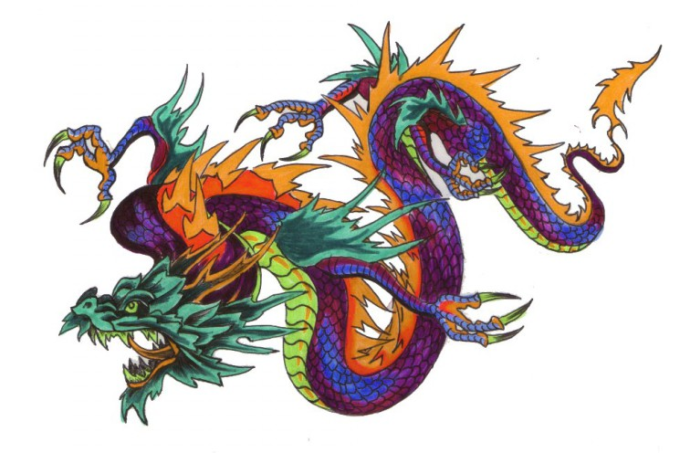 Angry Asian Dragon Tattoo For Men