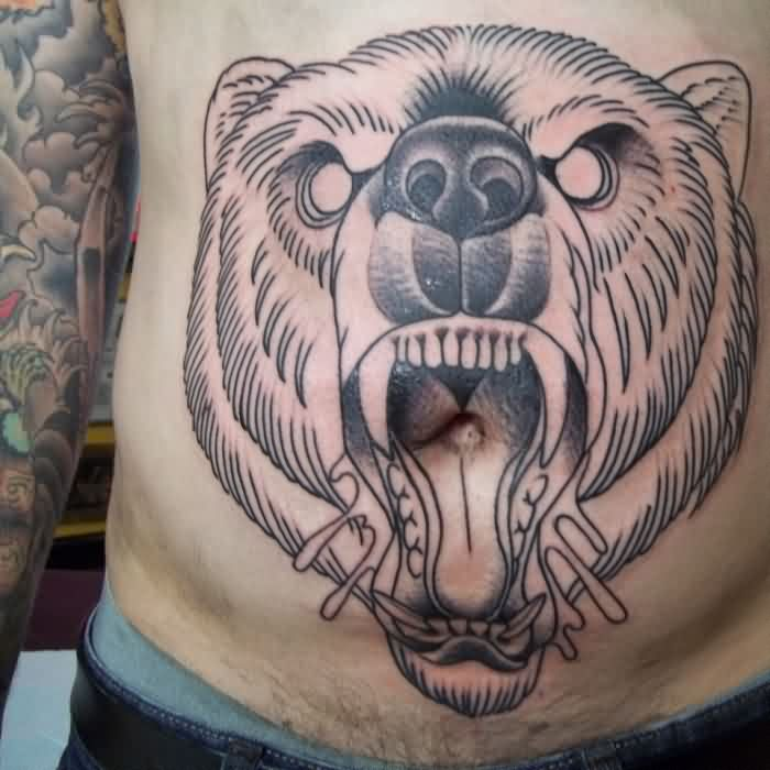 Angry Beer Tattoo On Stomach