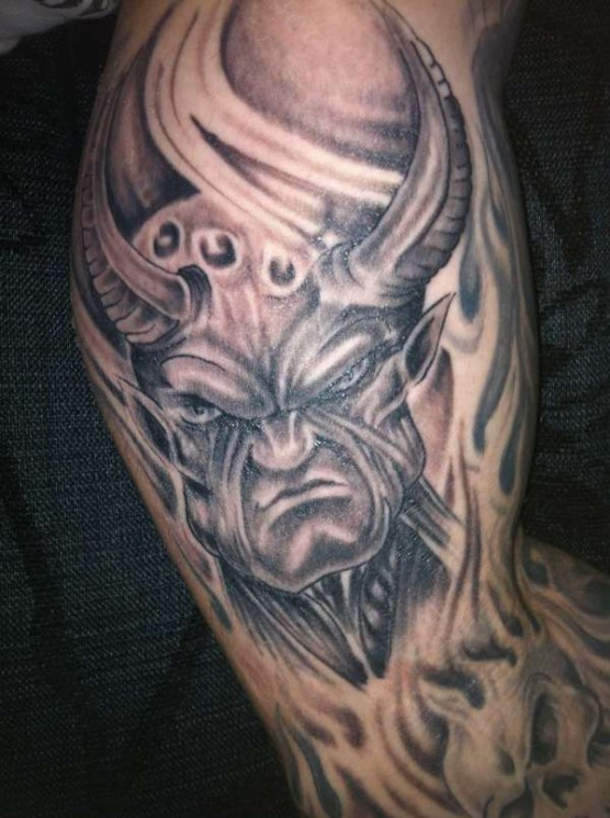 Angry Demon Tattoo On Muscles