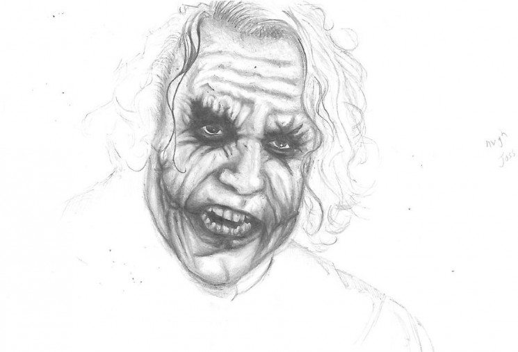 Angry Joker Face Tattoo Sketch