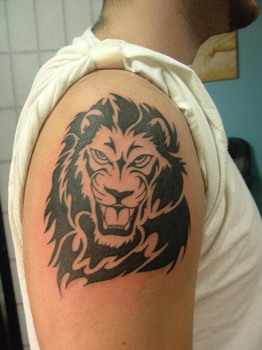 Angry King Lion Tattoo On Arm For Men
