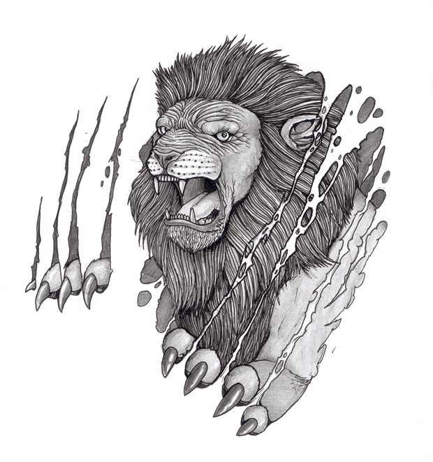 Angry Lion Tattoo Sample