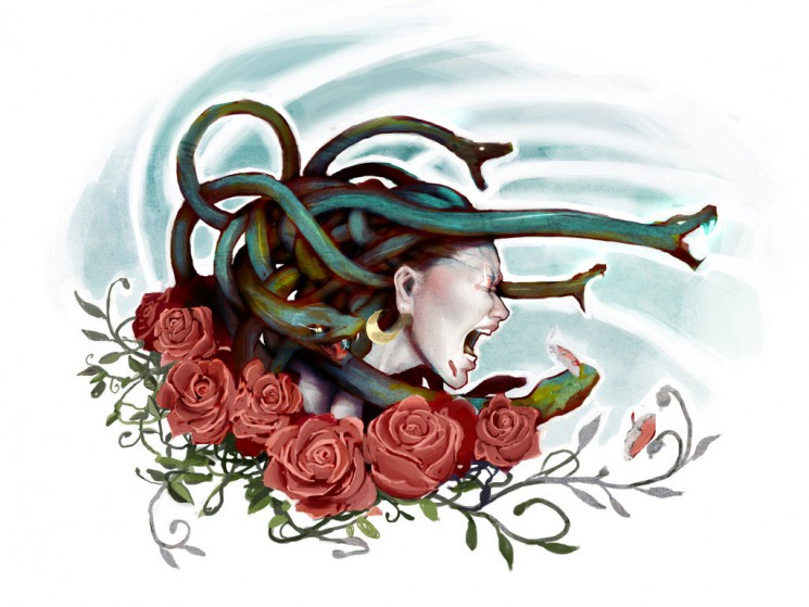 Angry Medusa In Flowers Tattoo Design