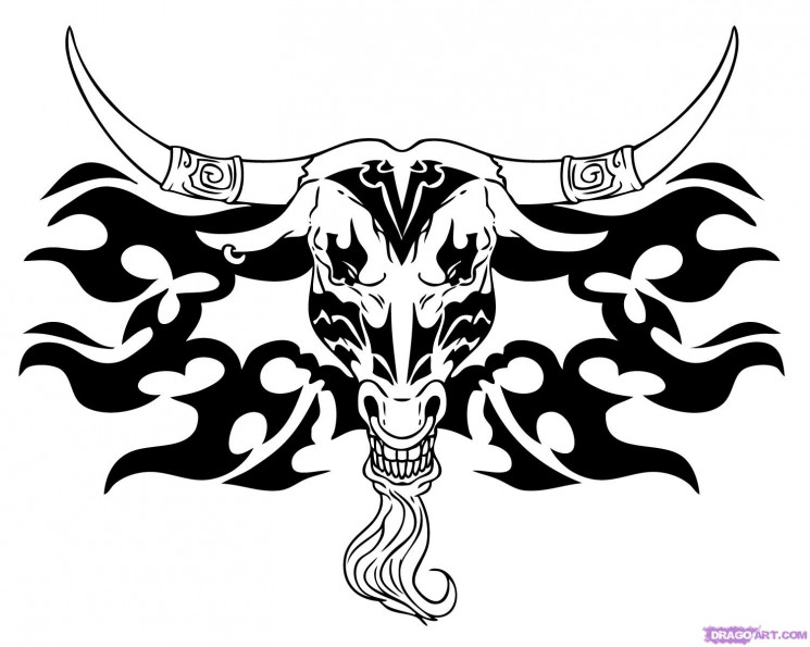 Angry Taurus Bull Tattoo Design With Red Horns