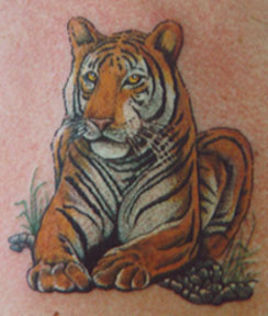 Angry Tiger Face Biceps Tattoo Design