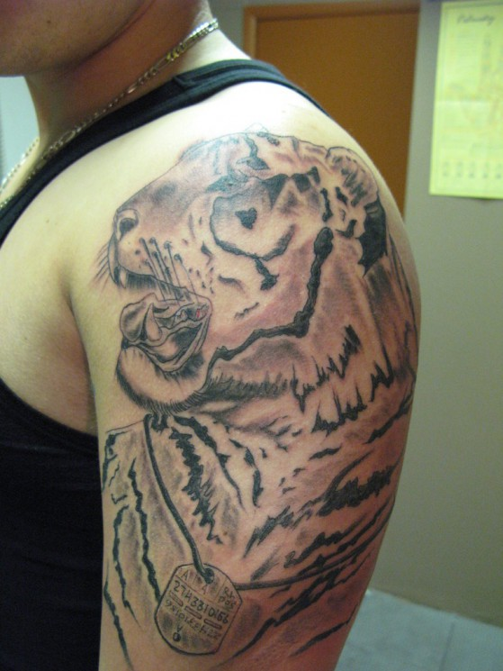 Angry Tiger Tattoo For Biceps