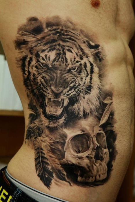 Angry Tiger Tattoo On Back Of Shoulder