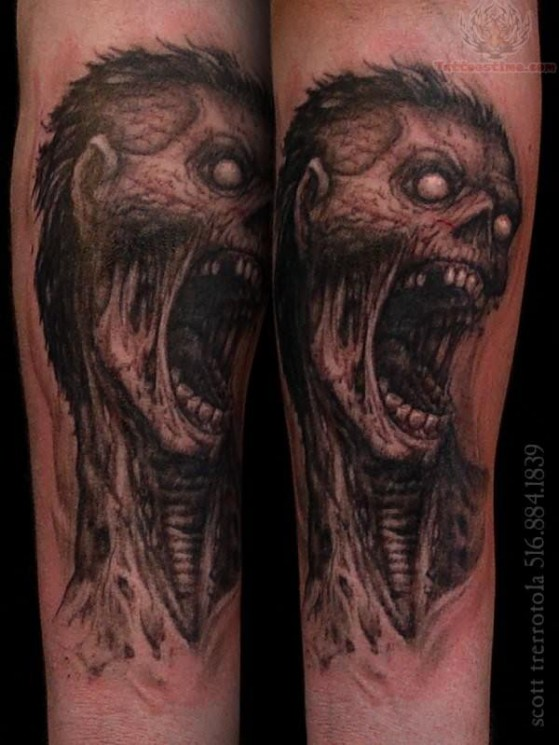 Angry Zombie Face Tattoo