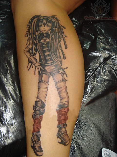 Anime Girl Tattoo On Leg