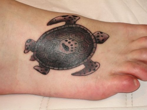 Aqua Turtle Tattoo On Foot
