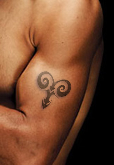 Aries Symbol Tattoo On Biceps
