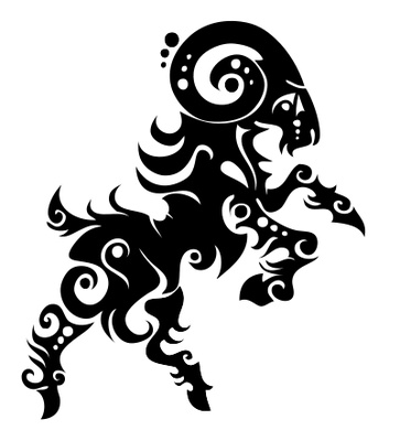 Aries Symbol With Flowers Tattoo Design