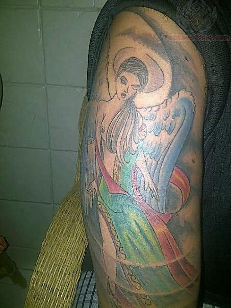 Arm Angel Tattoo Design With Color Ink