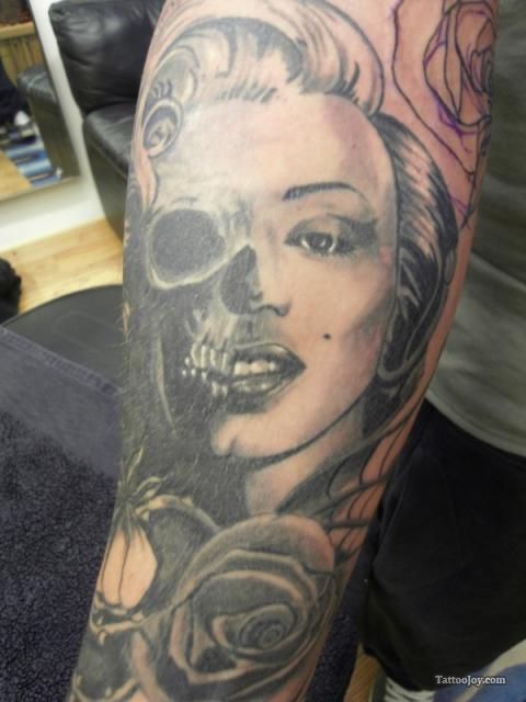 Arm Marilyn Skull Tattoo