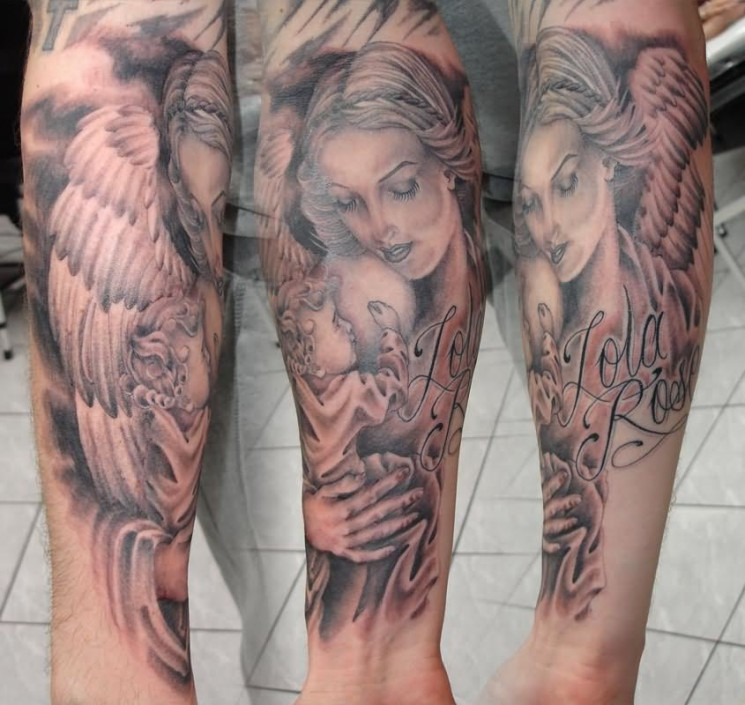 Arm Mother Angel Tattoo