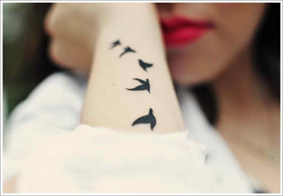 Arm Swallow Tattoo Design For Girls