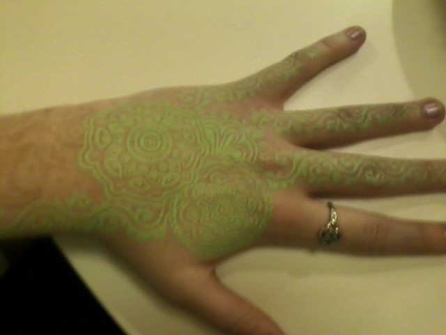Arm Tattoo Design With Green Ink