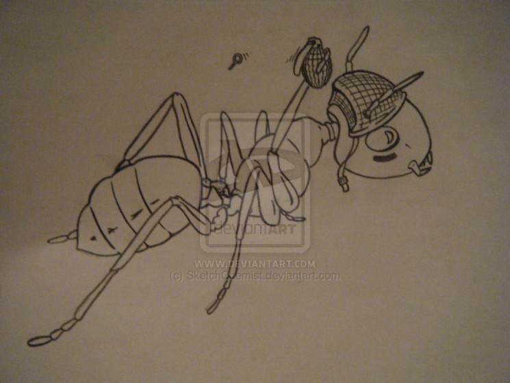 Army Ant With Grenade Tattoo Design