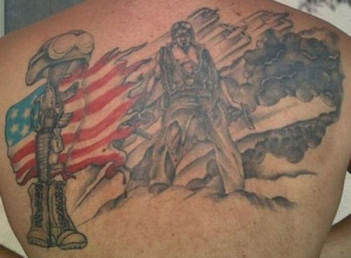 Army Military Tattoo On Back
