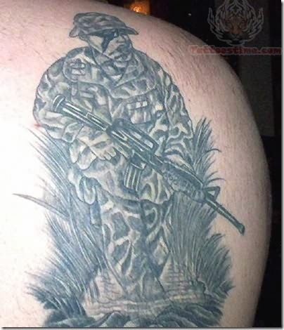 Army Soldier Tattoo On Back Shoulder